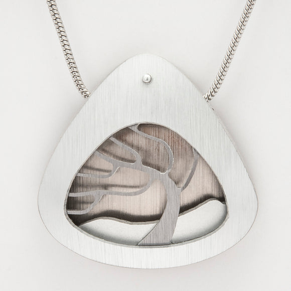 Brushed Aluminium Necklace - Grey Tree in Triangular Frame