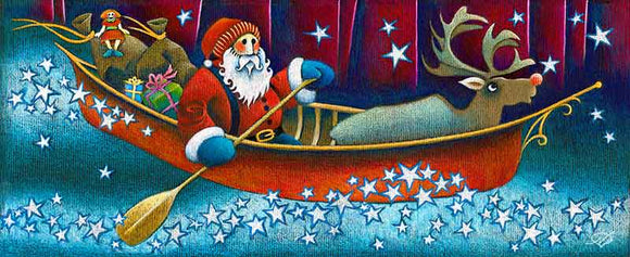 Santa Voyageur Christmas Art Card
