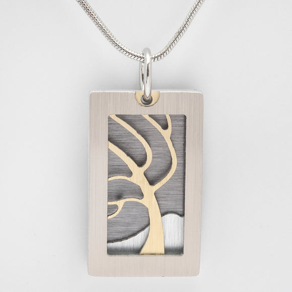Brushed Aluminium Necklace - Gold Windswept Tree with Rectangular Frame
