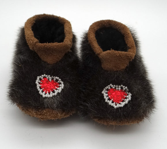 Baby's Beaded Bison Slippers- Heart Design-Sealskin