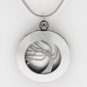 Brushed Aluminium Necklace - Grey Tree in Round Frame