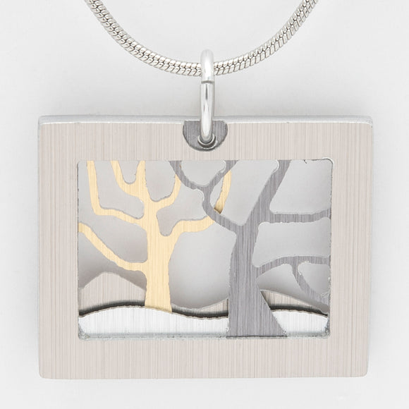 Brushed Aluminium Necklace - Two Trees - Grey / Gold Rectangle Frame