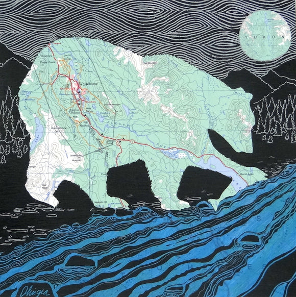 Whitehorse Bear with Fish 10x10