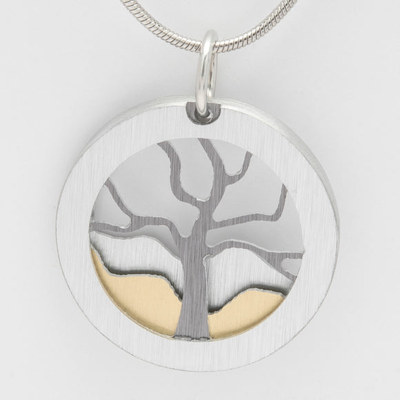 Brushed Aluminium Necklace -  Grey Tree with Two Tone Mountains in Round Frame