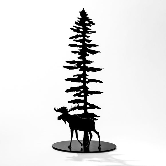 Moose & Sitka Tree - Black Steel