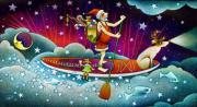 Paddle Board Santa Christmas Art Card