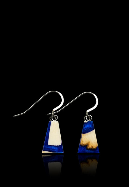 Arctic Midnight Blue Earrings-Mammoth Ivory/Blue Resin- Flare