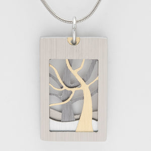 Brushed Aluminium Necklace - Two Trees- Grey/ Gold in Rectangular Frame
