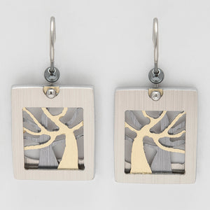 Brushed Aluminium Earrings - Silver/Gold Tree in Square Frame