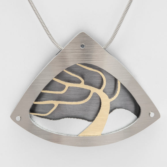 Brushed Aluminium Necklace - Windswept Gold Tree in Triangular Frame Large