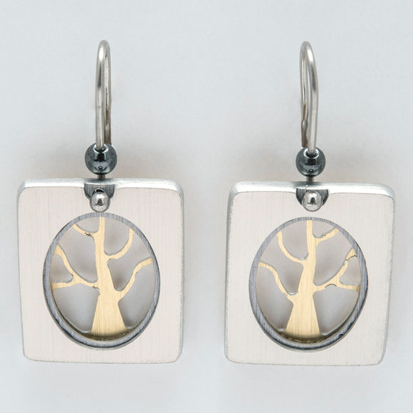 Brushed Aluminium Earrings -Gold tree in Oval Opening-Rectangular Frame