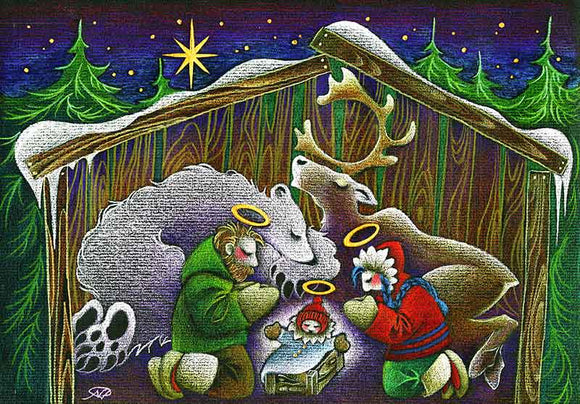 Northern Nativity Christmas Art Card