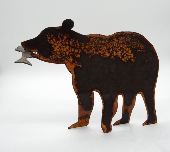 Rusted Metal Bear with Fish - Large
