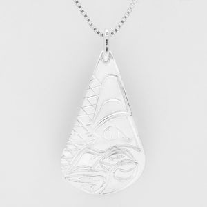 Wolf Teardrop Necklace-Sterling Silver