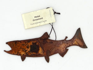 Rusted Metal  Salmon Ornament