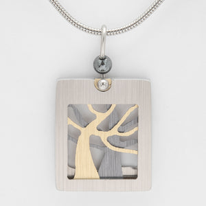 Brushed Aluminium Necklace - Silver/Gold Trees in Square Frame- Small
