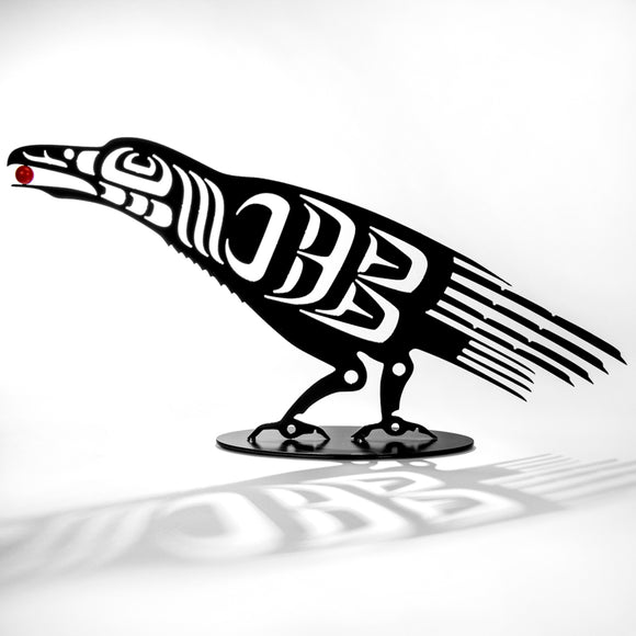 First Nations Raven with Berry - Black Steel