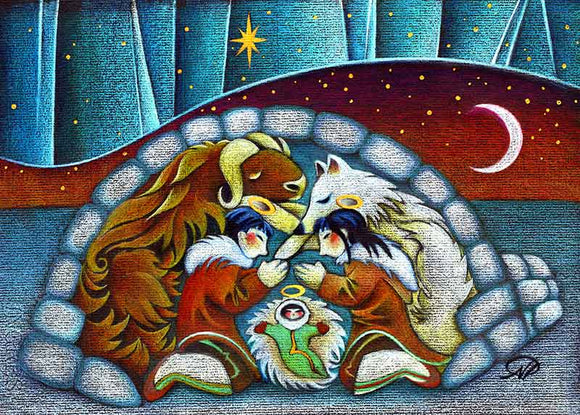 Arctic Holy Night Christmas Art Card