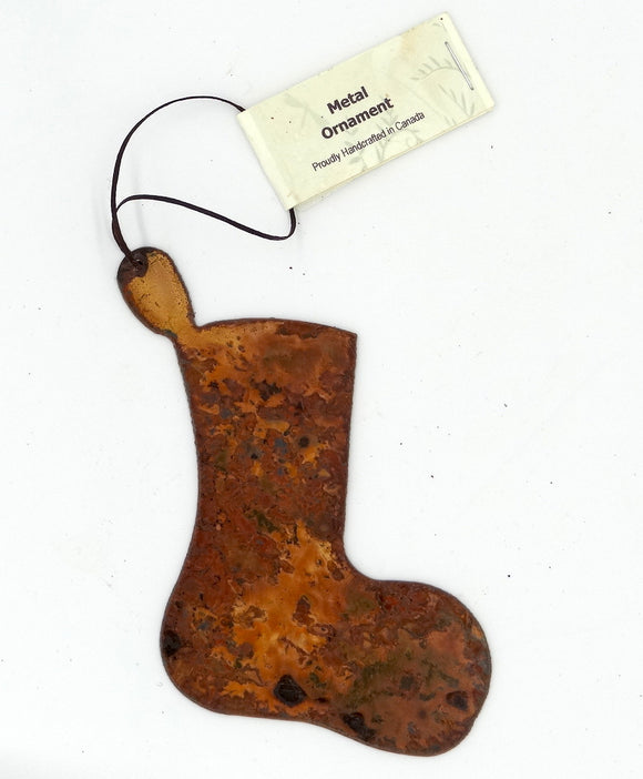 Rusted Metal Stocking Ornament