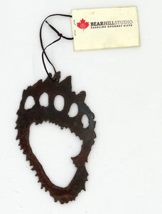 Rusted Metal Bear Paw Ornament