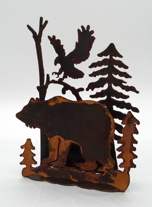 Rusted Metal Wildlife Scene - Bear