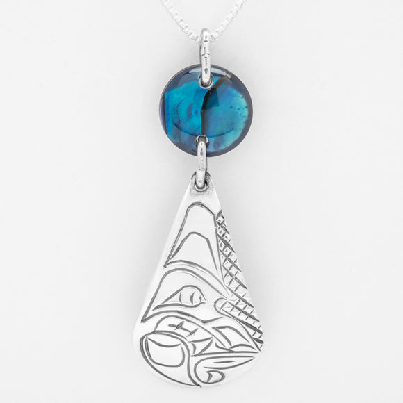 Wolf Teardrop Necklace with Blue Shell-Sterling Silver
