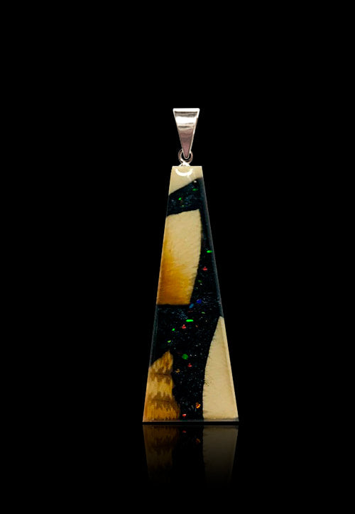 Deepspace Black- Mammoth/Ammolite Flake Pendant Necklace -Flare