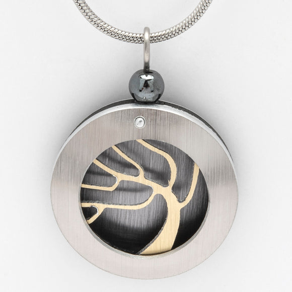 Brushed Aluminium Necklace - Gold Tree in Round Frame