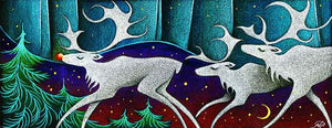 Rudolf the Red Nosed Caribou Christmas Art Card
