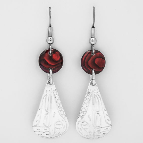 04-SR Hummingbird Teardrop Earrings with Red Shells