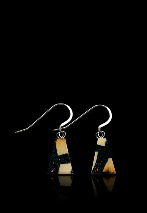 Deepspace Black - Mammoth/ Ammolite Flake Earrings-Flare