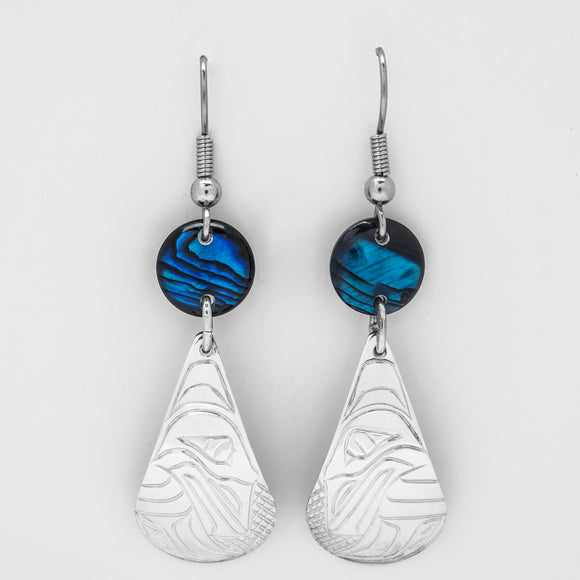Raven Teardrop Earrings with Blue Shell