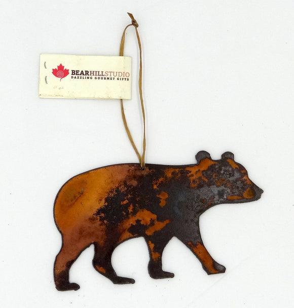 Rusted Metal Bear Walking Ornament