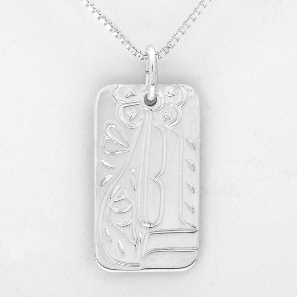 Hummingbird Necklace- Small Rectangle-Sterling Silver