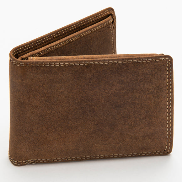 227 Bill Fold Wallet w/Change Pocket - Bison Leather
