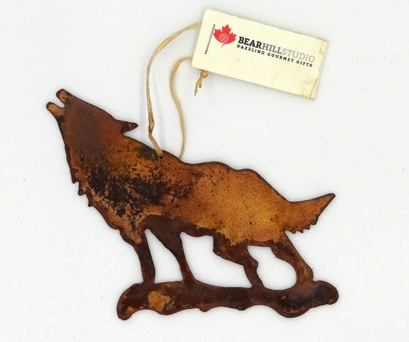 Rusted Metal Wolf Ornament