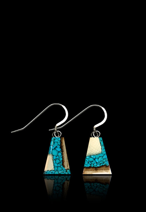Turquoise and Mammoth Ivory Earrings (Dima) Flare
