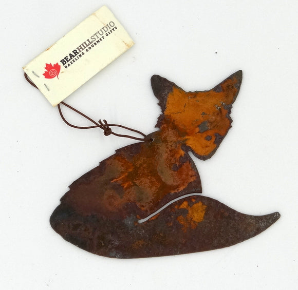 Rusted Metal Fox Ornament