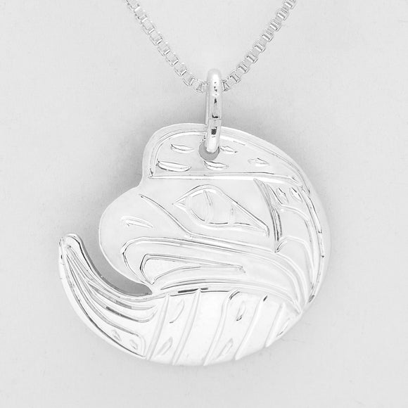 Large Circle Necklace - Eagle- Sterling Silver