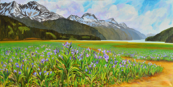 Field of Wild Iris on Taiya Inlet paper 10x19.5
