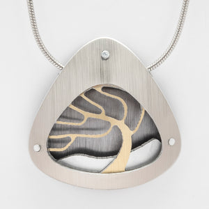 Brushed Aluminium Necklace - Gold tree in Triangular Frame
