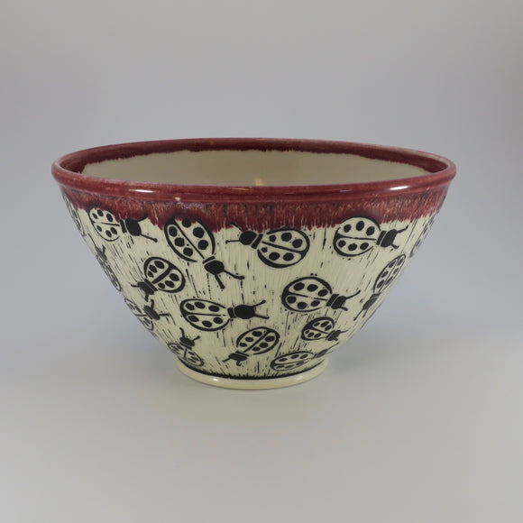 Pottery Bowl - Ladybug - Medium