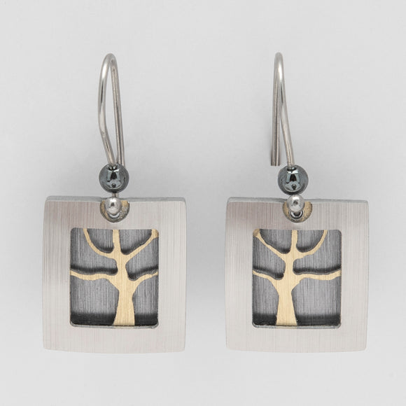 Brushed Aluminium Earrings - Gold Tree in Square