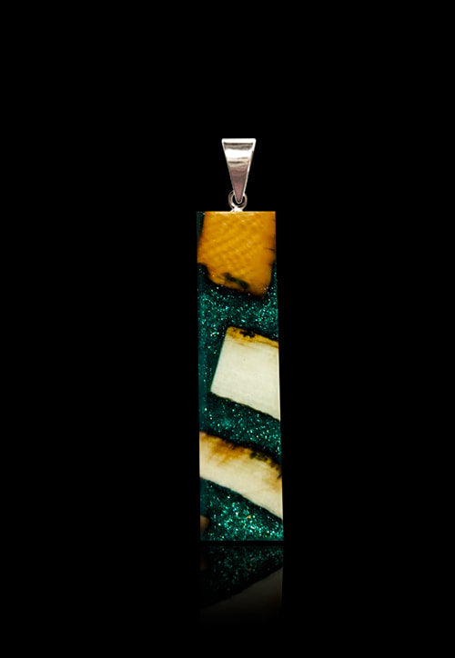 Forest Frost Green Pendant Necklace - Mammoth Ivory/Green Resin- Rectangular