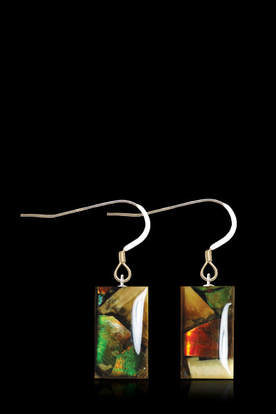 Ammolite & Mammoth Ivory Earrings (Dima) Rectangular