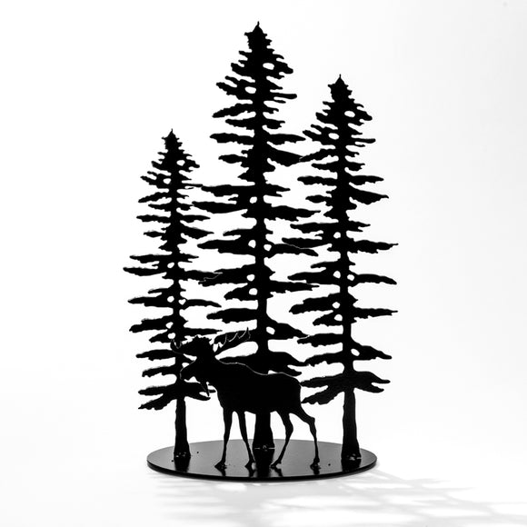 3 Sitka Trees & Moose - Black Steel