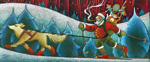 Skijoring Santa Christmas Art Card