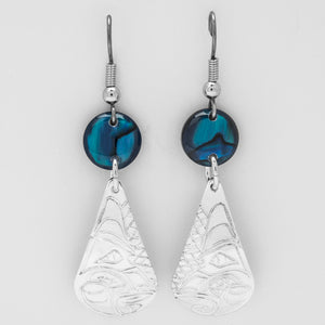 Wolf Teardrop Earrings with Blue Shell