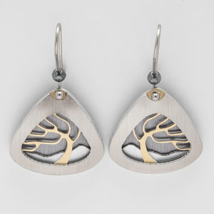 Brushed Aluminium Earrings -  Gold Tree in Triangular Frame