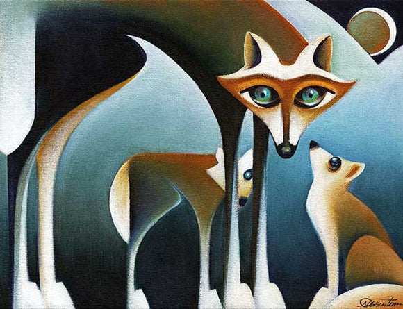Coyote Family - Giclee Canvas